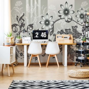 Floral Pattern With Swirls Wallpaper Mural