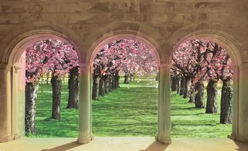 Flowering Trees Through The Arch Wallpaper Mural