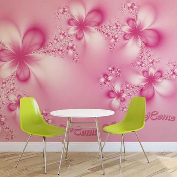 Flowers Home Pink Wallpaper Mural