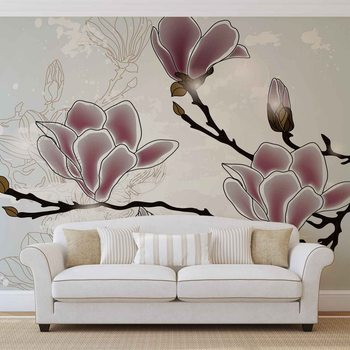 Flowers Magnolia Branch Wallpaper Mural