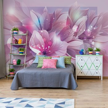 Flowers Modern Pink And Purple Wallpaper Mural