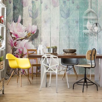 Flowers Vintage Script Rustic Painted Wood Planks Wallpaper Mural