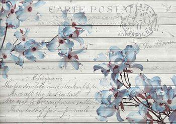 Flowers Wood Pattern Vintage 416x254 cm - 130g/m2 Vlies Non-Woven Wallpaper Mural