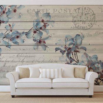 Flowers Wood Pattern Vintage Wallpaper Mural