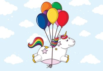 Flying Unicorn With Balloons Wallpaper Mural