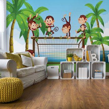 Football Monkeys Cartoon Wallpaper Mural
