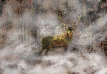 Forest Stag In The Mist Wallpaper Mural