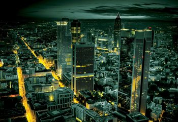 Frankfurt City Skyline At Night Wallpaper Mural