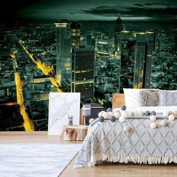 Frankfurt City Skyline At Night Wallpaper Mural