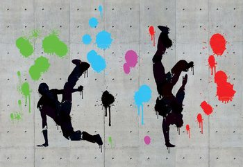 Graffiti Concrete Wall Dancers Wallpaper Mural
