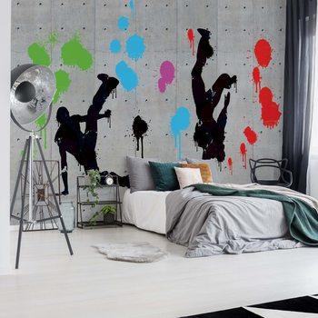 Graffiti Concrete Wall Dancers Wallpaper Mural