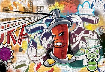 Graffiti Street Art Red Wallpaper Mural