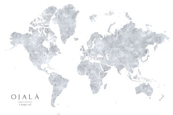 Grayscale watercolor world map, I hope so Wallpaper Mural