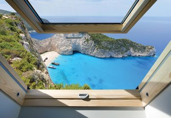Greek Island Skylight Window View Wallpaper Mural