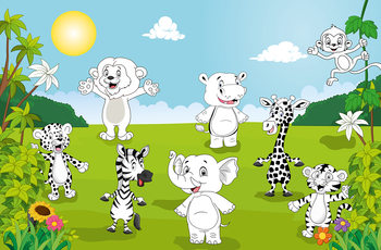 Happy Animals - COLOR IT YOURSELF Wallpaper Mural