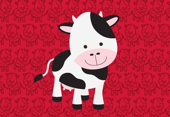 Happy Cartoon Cow Wallpaper Mural