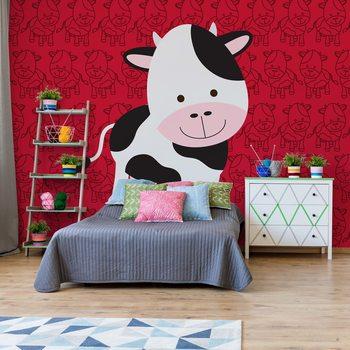 Happy Cartoon Cow Wallpaper Mural