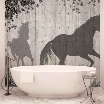 Horses Tree Leaves Wall Wallpaper Mural
