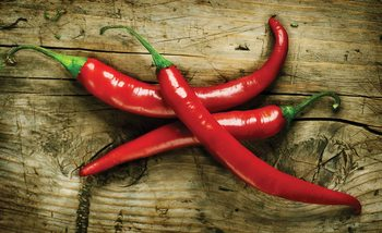 Hot Chillies Food Wood Wallpaper Mural