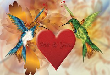 Hummingbird Heart Wallpaper Mural