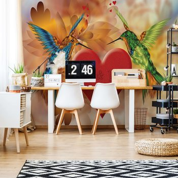 Hummingbird Heart Wallpaper Mural