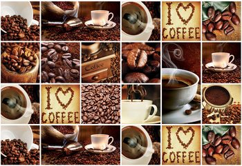 I Love Coffee Squares Wallpaper Mural