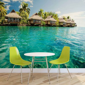 Island Caribbean Sea Tropical Cottages Wallpaper Mural