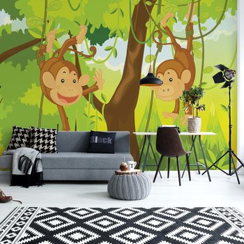 Jungle Monkeys Wallpaper Mural