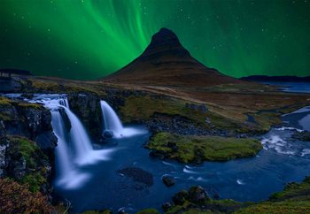 Kirkjufell, Under A Boreal Green Sky Wallpaper Mural