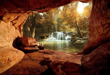 Lake Forest Waterfall Cave Wallpaper Mural