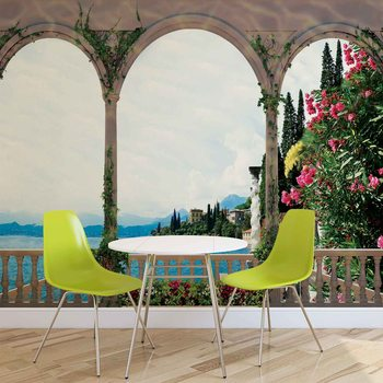 Lake Through The Arches Wallpaper Mural