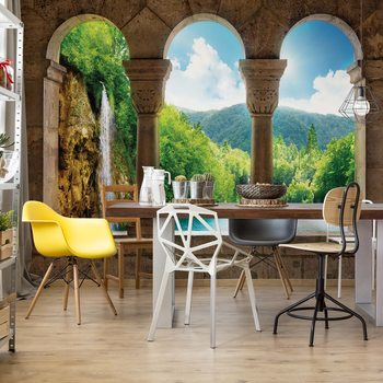 Lake Waterfall View Through Stone Arches Wallpaper Mural