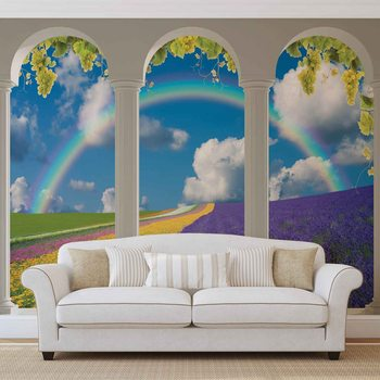 Lavendar Field Nature Arches Wallpaper Mural