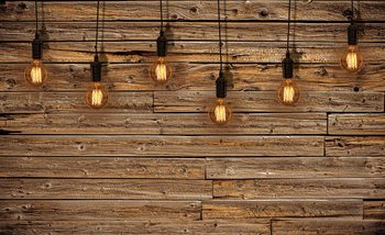 Light Bulbs Wood Plankets Wallpaper Mural