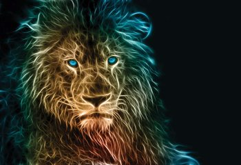 Lion Modern Light Painting Wallpaper Mural
