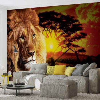 Lion Sunset Africa Nature Tree Wallpaper Mural