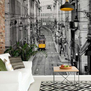 Lisbon Black And White Wallpaper Mural