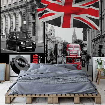 London Black And White Wallpaper Mural