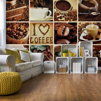 Love Coffee Squares Wallpaper Mural