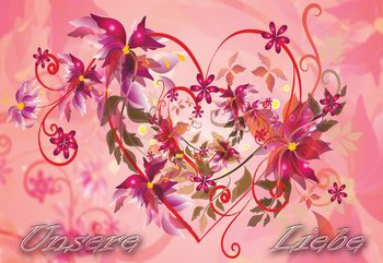 Love Heart Flowers Swirly Design Wallpaper Mural