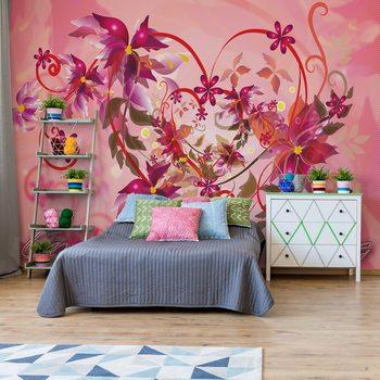 Love Heart Flowers Swirly Design Wallpaper Mural