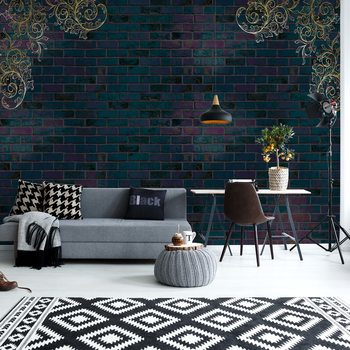 Luxury Dark Brick Wall Wallpaper Mural