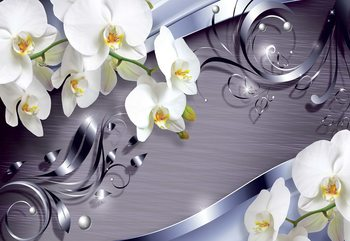 Luxury Ornamental Design Orchids Wallpaper Mural