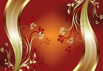 Luxury Ornamental Floral Design Orange Wallpaper Mural