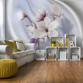 Magnolia Modern Floral Design Blue Wallpaper Mural
