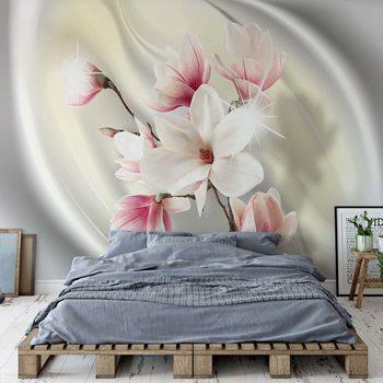 Magnolia Modern Floral Design Yellow Wallpaper Mural