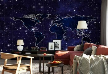 Map And Stars Wallpaper Mural