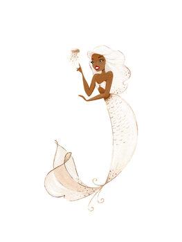 Wallpaper Mural Mermaid - Champagne