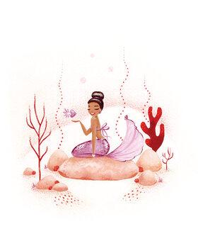 Wallpaper Mural Mermaid - Coral