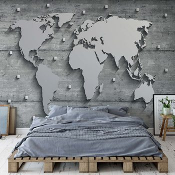 Modern 3D World Map Concrete Texture Wallpaper Mural